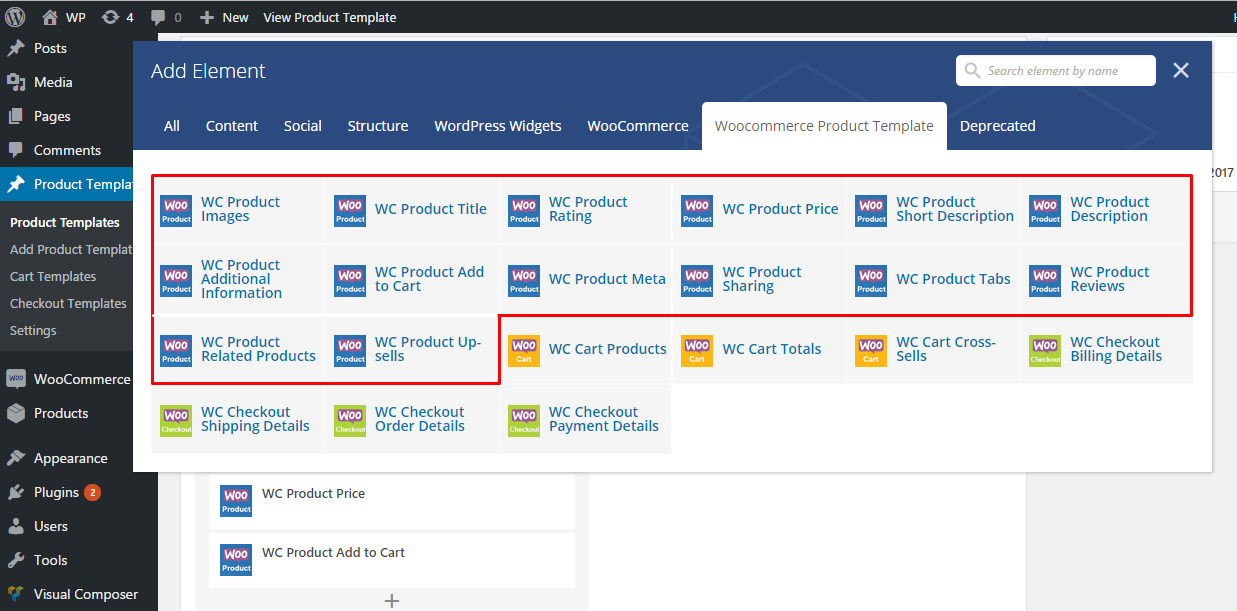 Product detail page templates vc elements
