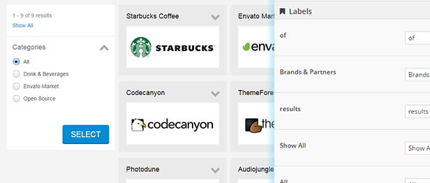 Customize Labels and Captions for your website logos showcase