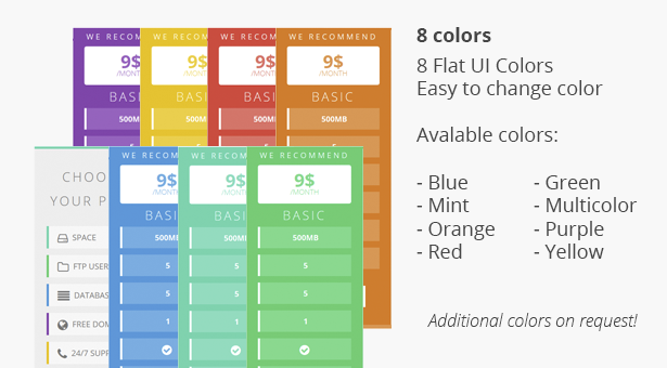 Flat Pricing Table, 2 Themes, 8 Colors - 4