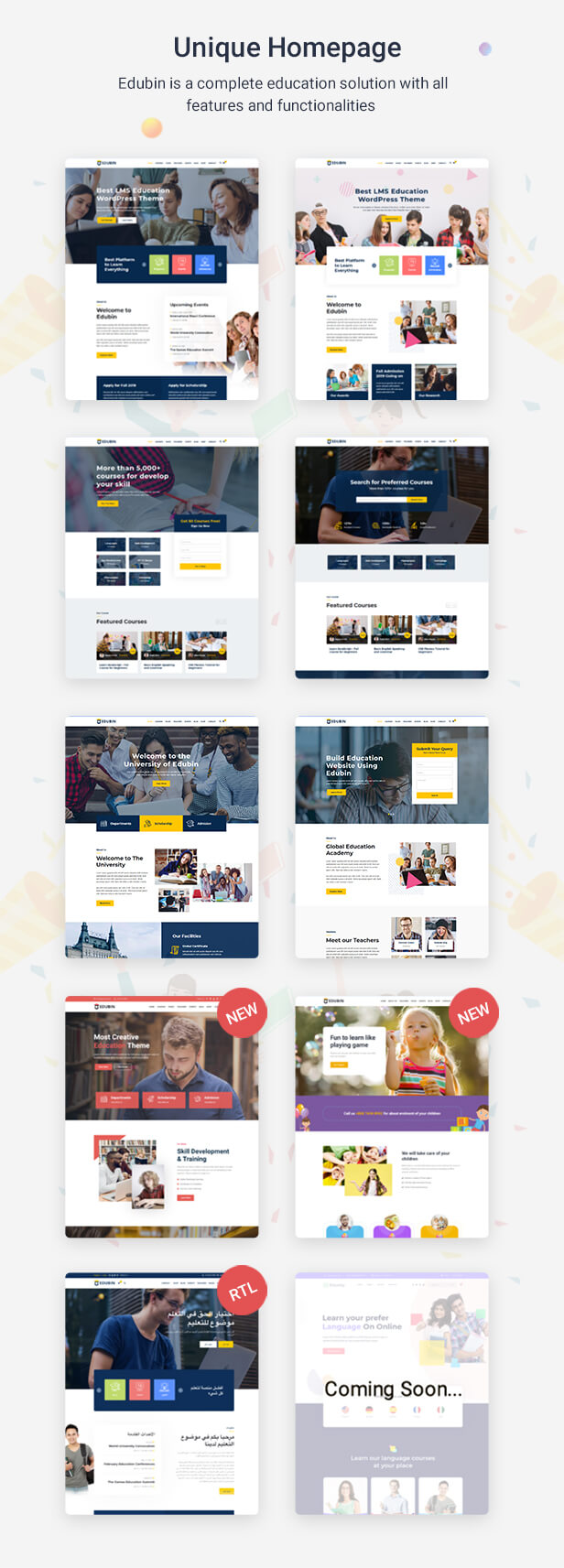 Education WordPress Theme Home Pages| Edubin