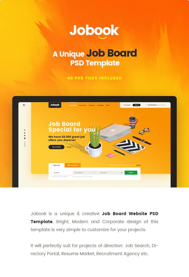 Jobook - A Unique Job Board Website PSD Template - 1
