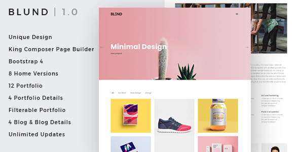 Blund minimal portfolio WordPress theme