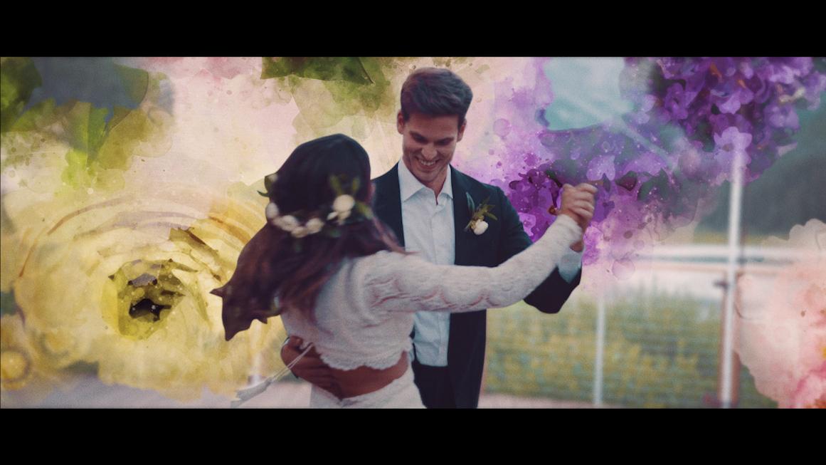优雅浪漫婚礼情人节花朵转场照片定格片头Premiere模板