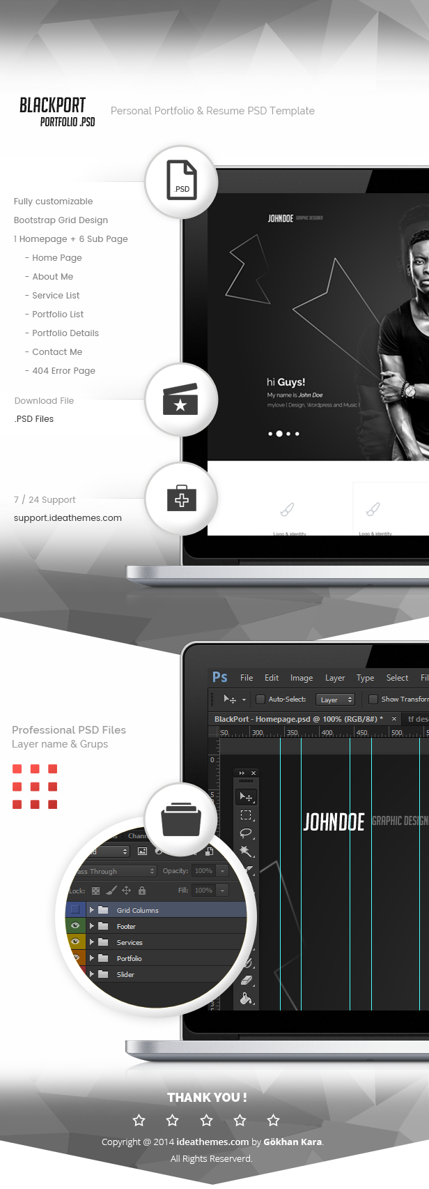 BlackPort - Personal Portfolio & Resume PSD Template - 1