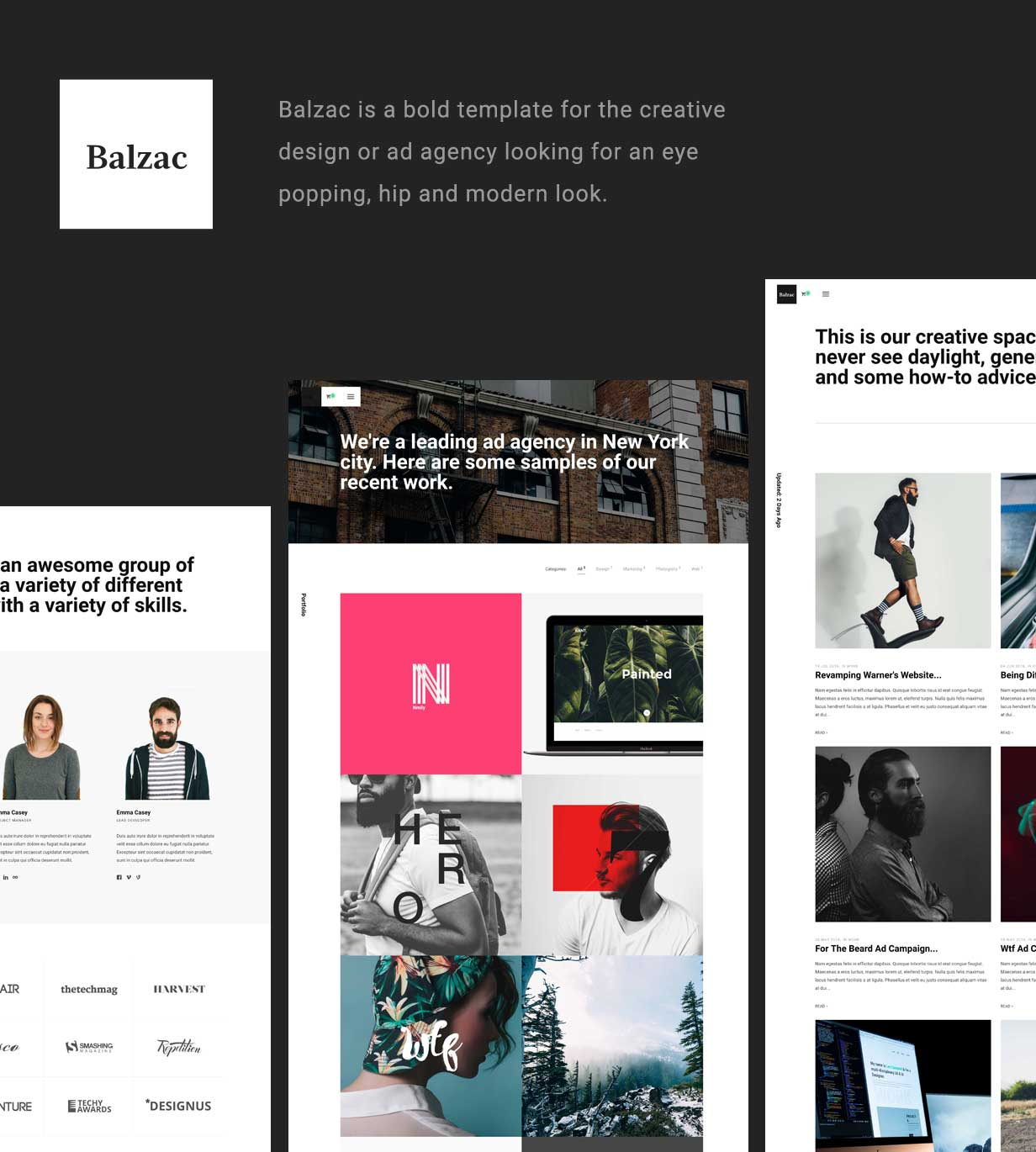 Balzac Minimal and Creative WordPress Theme - 1