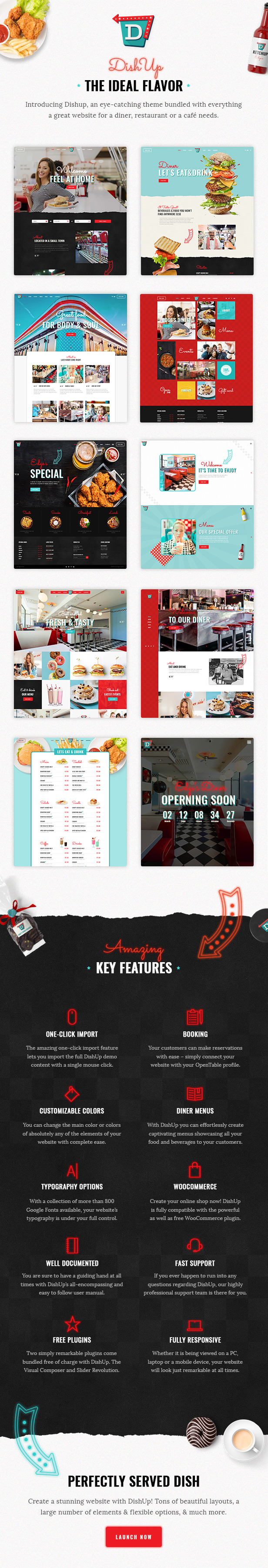 Step Up Your Restaurant With Dishup This Remarkable Theme Will Help You Build A Delicious Website For Fast Food Café Diner And So