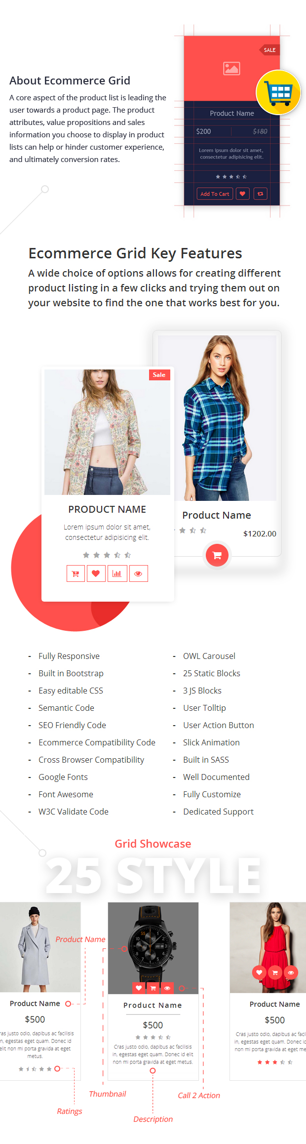 Features Ecommerce Grid is a Multipurpose Product Showcase HTML Widget