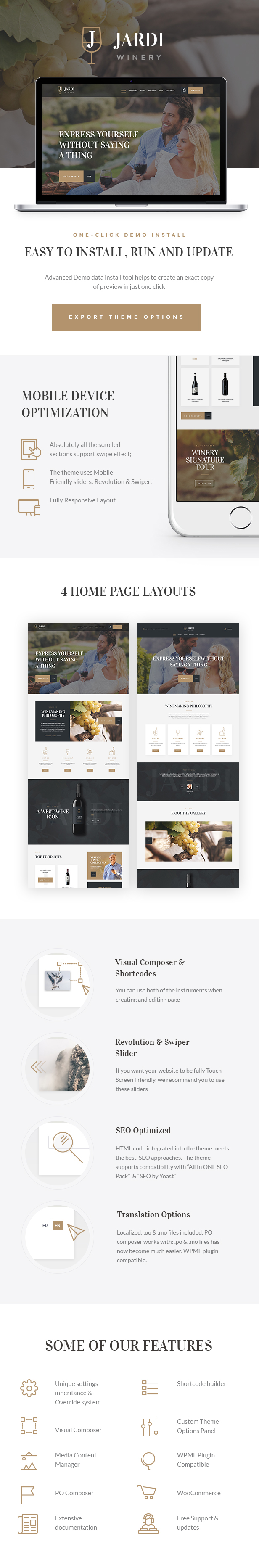 Winery, Vineyard & Wine Shop WordPress Theme features