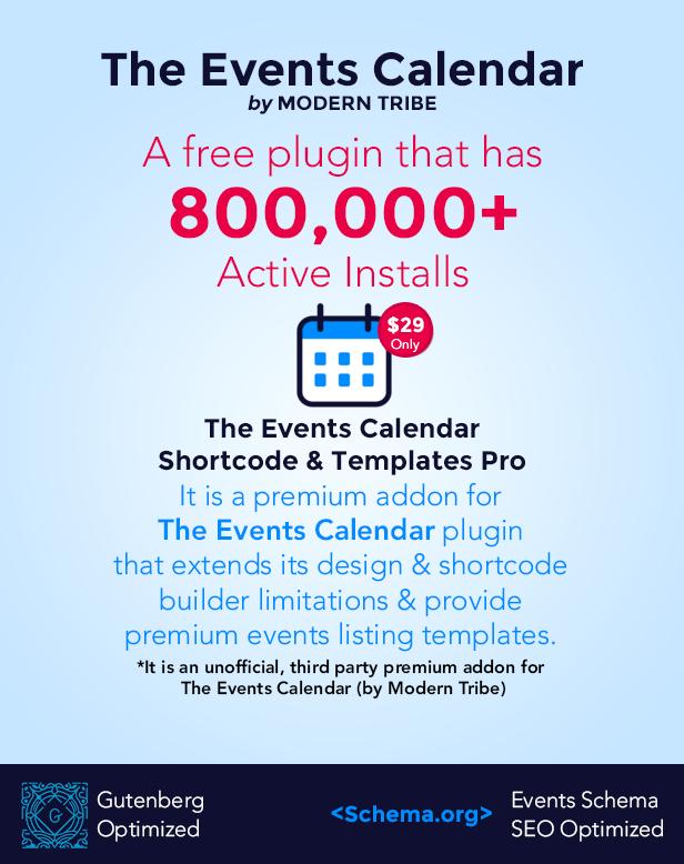 The Events Calendar Shortcode and Templates Pro  - WordPress Plugin - 2