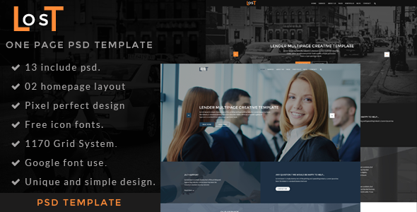 lost-one page psd template - Portfolio Creative
