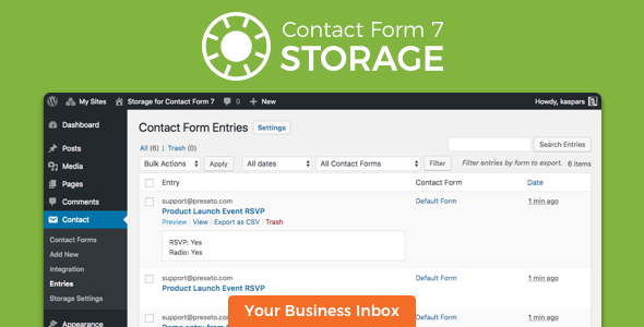 Storage DB for Contact Form 7