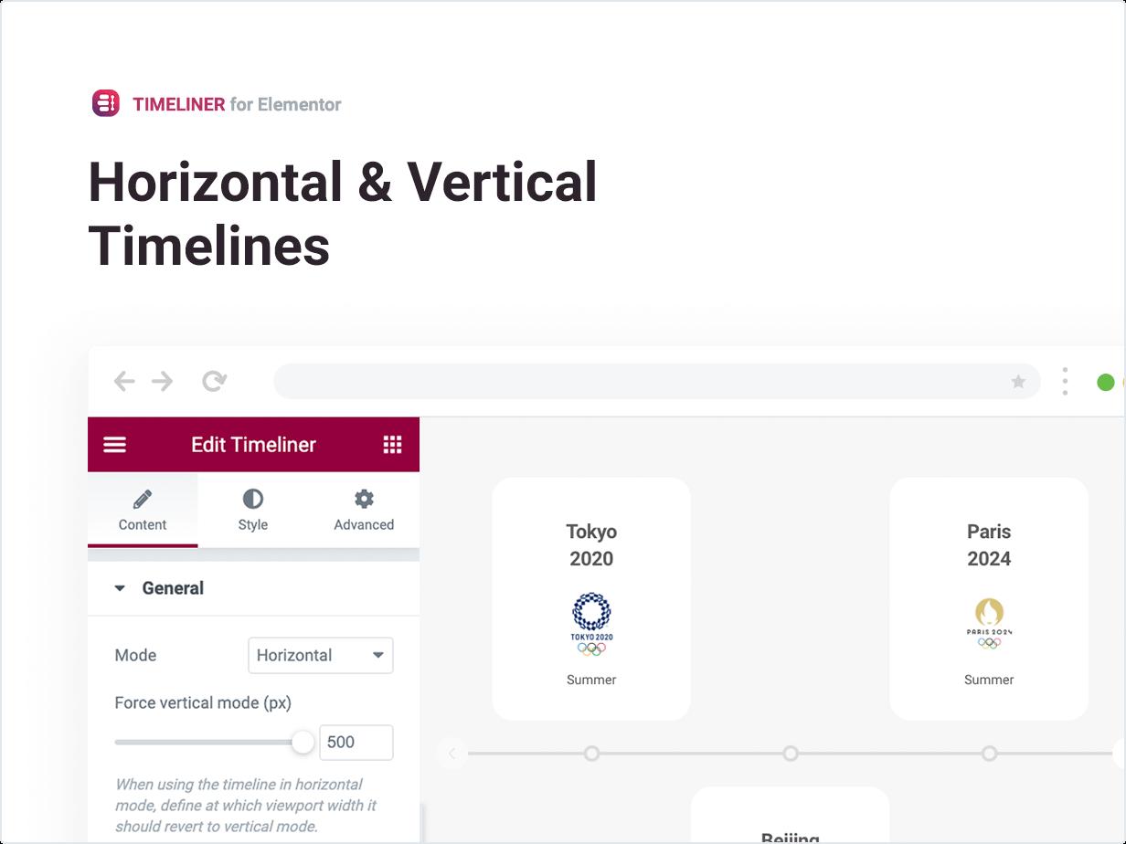 Líneas de tiempo horizontales y verticales