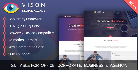 Vision Digital Agency – Corporate One Page HTML Template