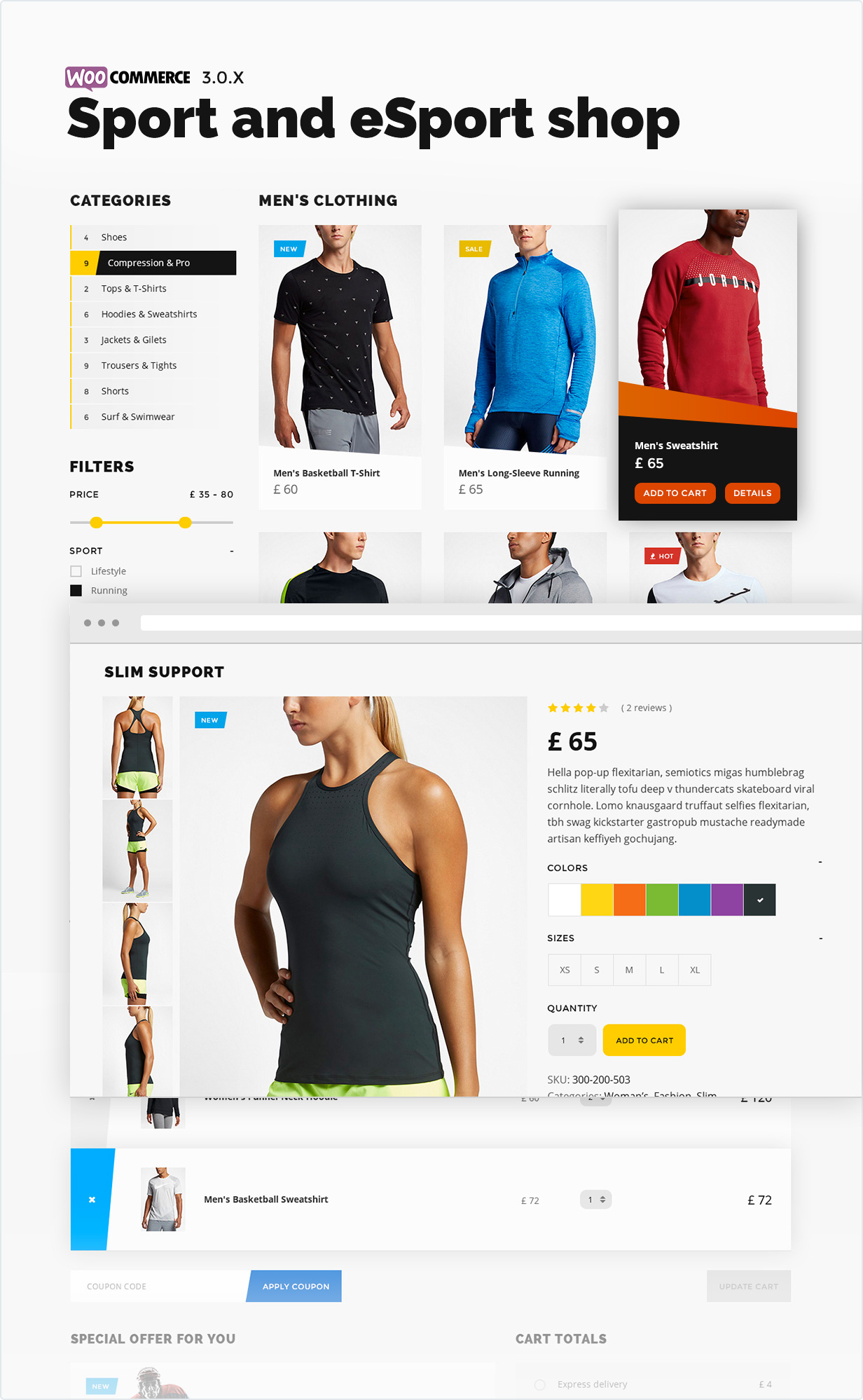 Sport and eSport shop on woocommerce 3.0.X