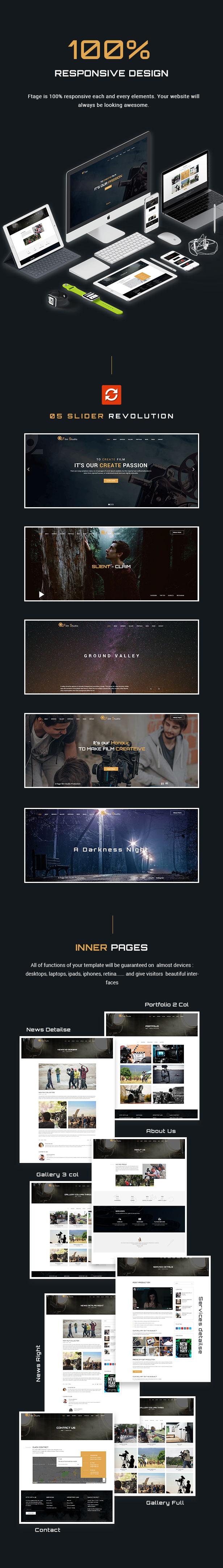 Film Studio Movie Production HTML Template - Ftage - 3