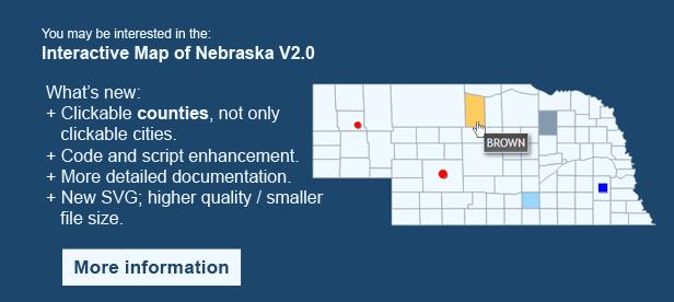 Interactive Map of Nebraska - Clickable Counties