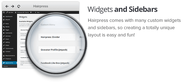 Custom widgets and sidebars