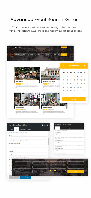 WordPress events search theme