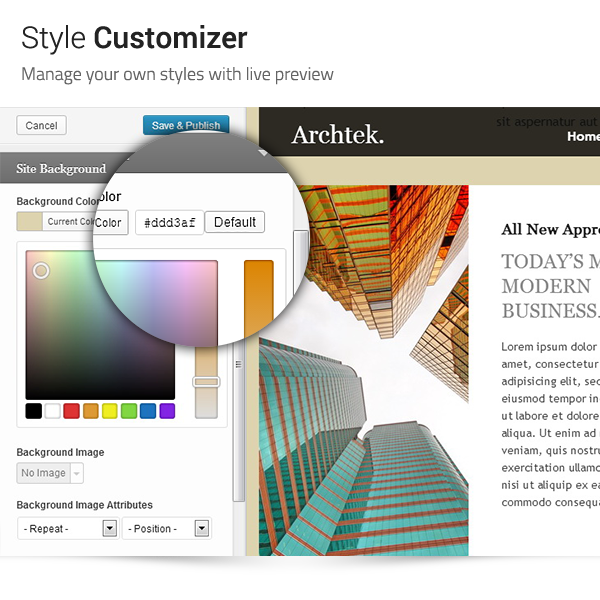 Archtek: Style Customizer - Manage your own styles with live preview