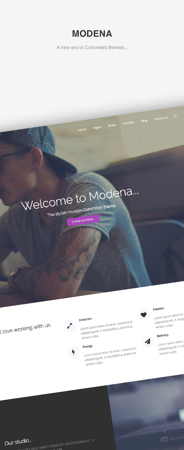 Modena Concrete5 theme, version 5.8 compatible
