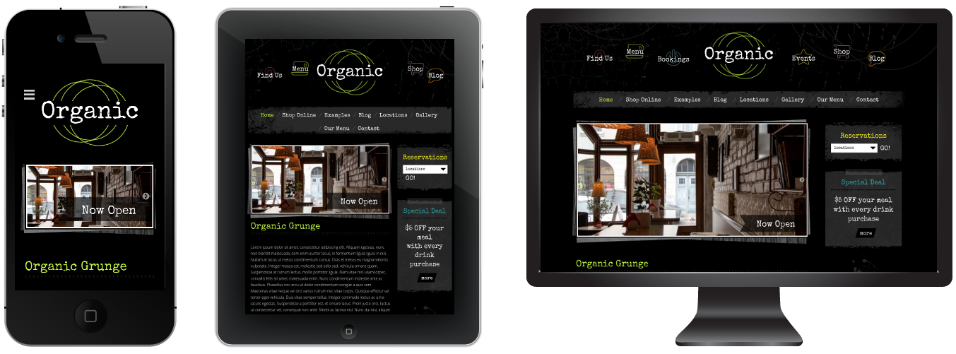 Responsive Grunge Theme - Dark color version