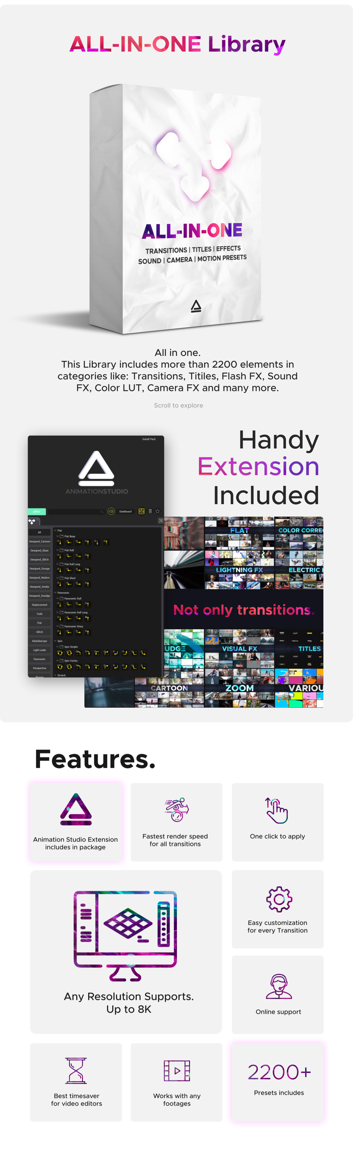 中文汉化AE脚本-2500多种电影视频制片人促销全景无缝过渡缩放转场标题动画工具包 V5 Animation Studio v2.4 for Win/Mac破解版插图2