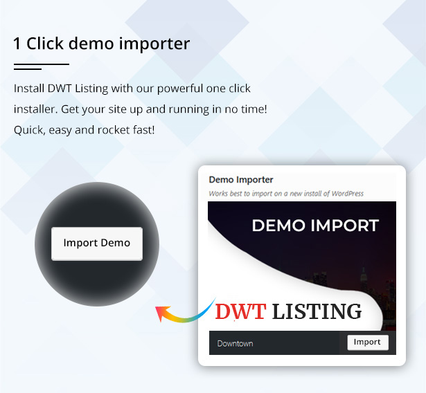 downtown one click demo importer