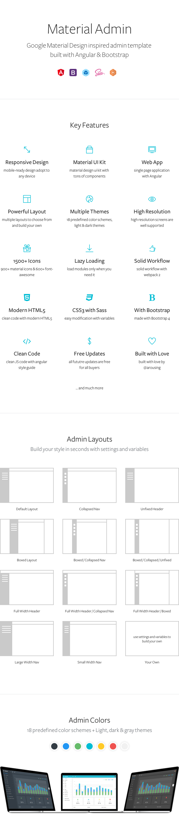 Material Design Angular 4 Admin Web App with Bootstrap 4