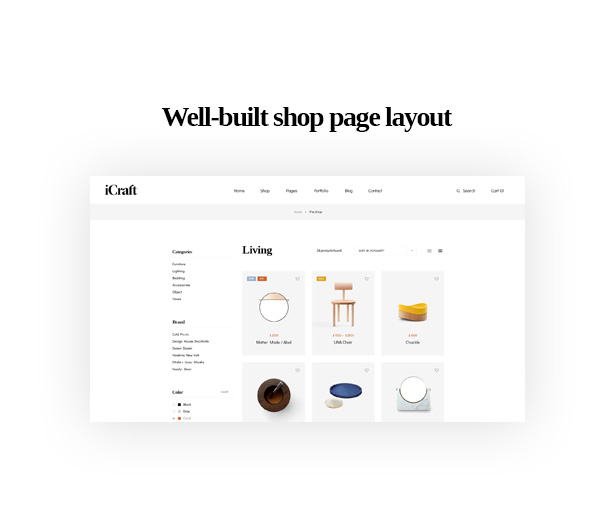 Well-built shop page layout