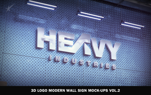3D Logo Modern Wall Sign Mock-Ups Vol.1 - 5