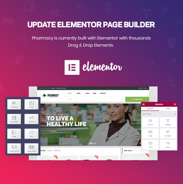 Tıp ve Sağlık için Drag Drop Page Builder Elementor Eczane WordPress Teması