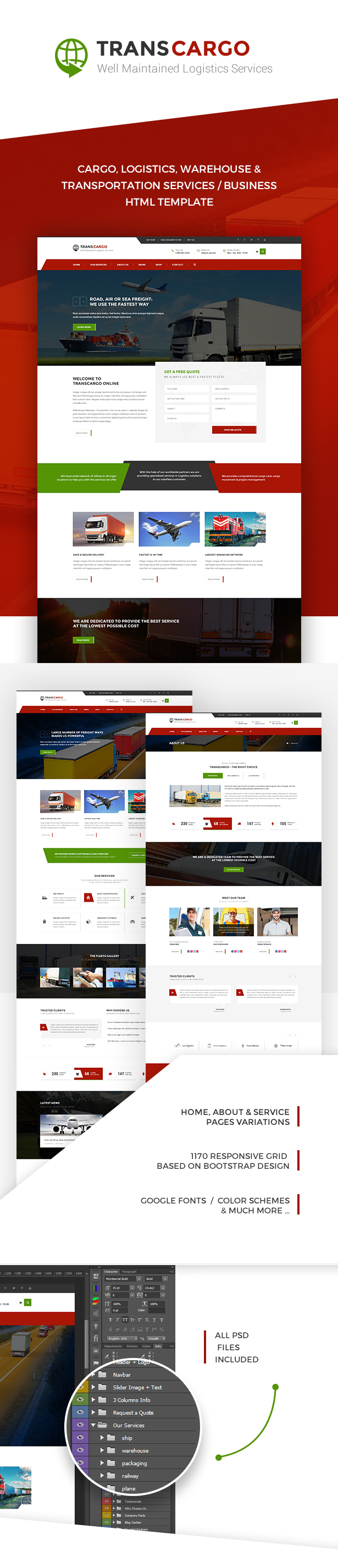 Transcargo is a multipurpose html design suitable for cargo logistics trucking transportation companies warehouse and freight business