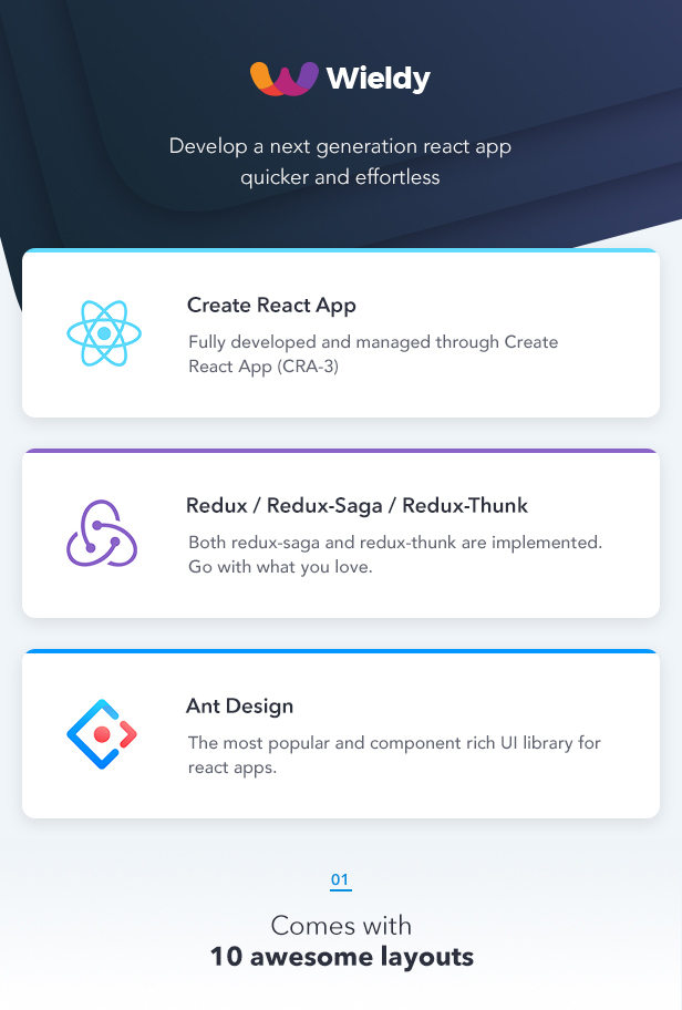 Wieldy - React Admin Template Ant Design and Redux by g-axon