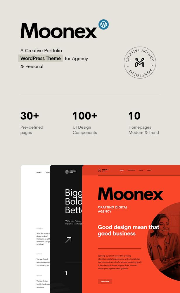 Moonex - Agency & Portfolio Themeforest WordPress Theme
