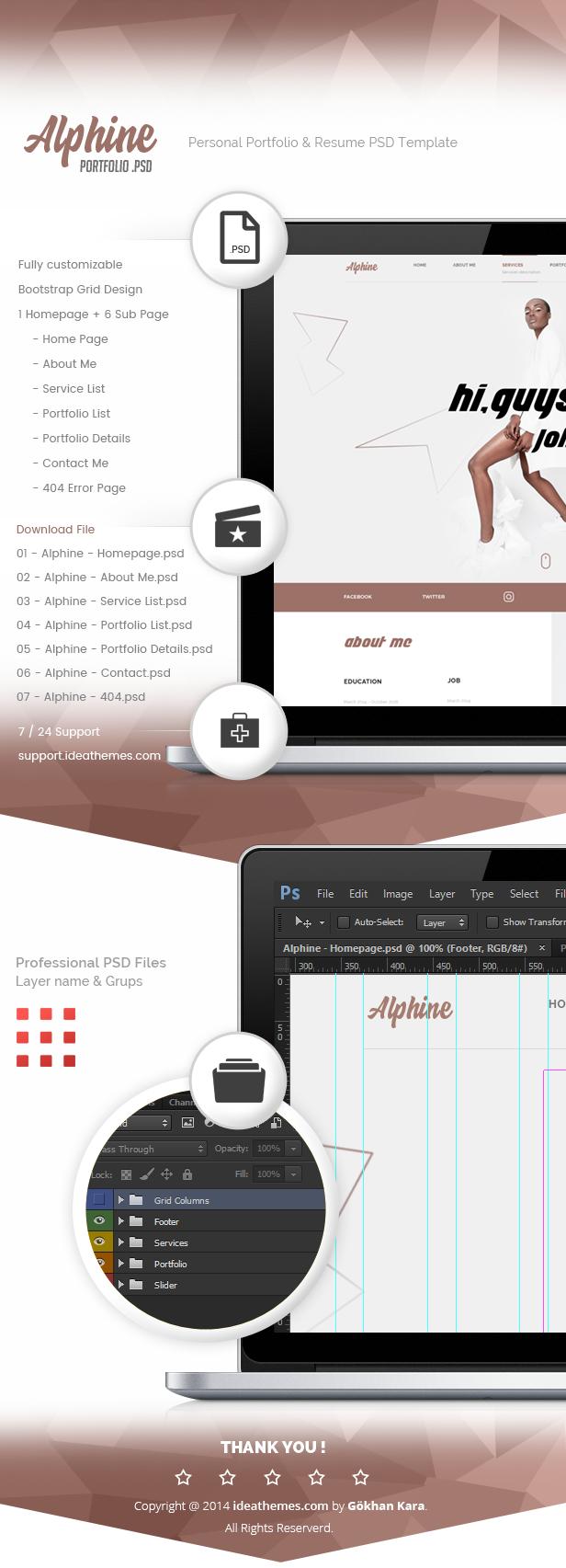 Alphine - Personal Portfolio & Resume PSD Template