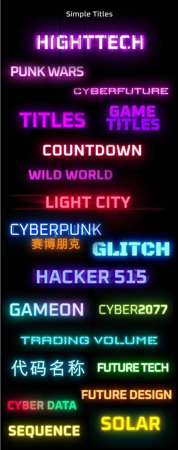 AE脚本-赛博朋克未来科幻霓虹灯发光文本标题背景动态工具包 Cyberpunk Titles Lowerthirds and Backgrounds插图6