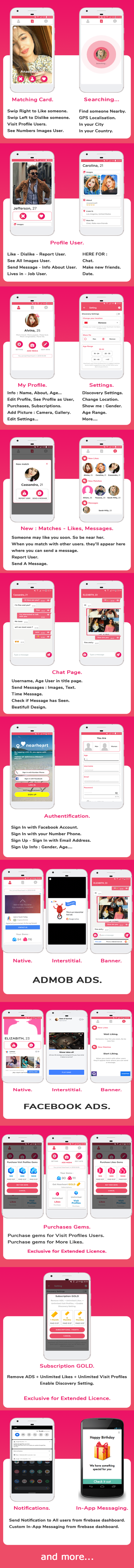 Nearheart - Android Dating App with Facebook & Admob Ads, Subscriptions, Purchases v1.1 - 2