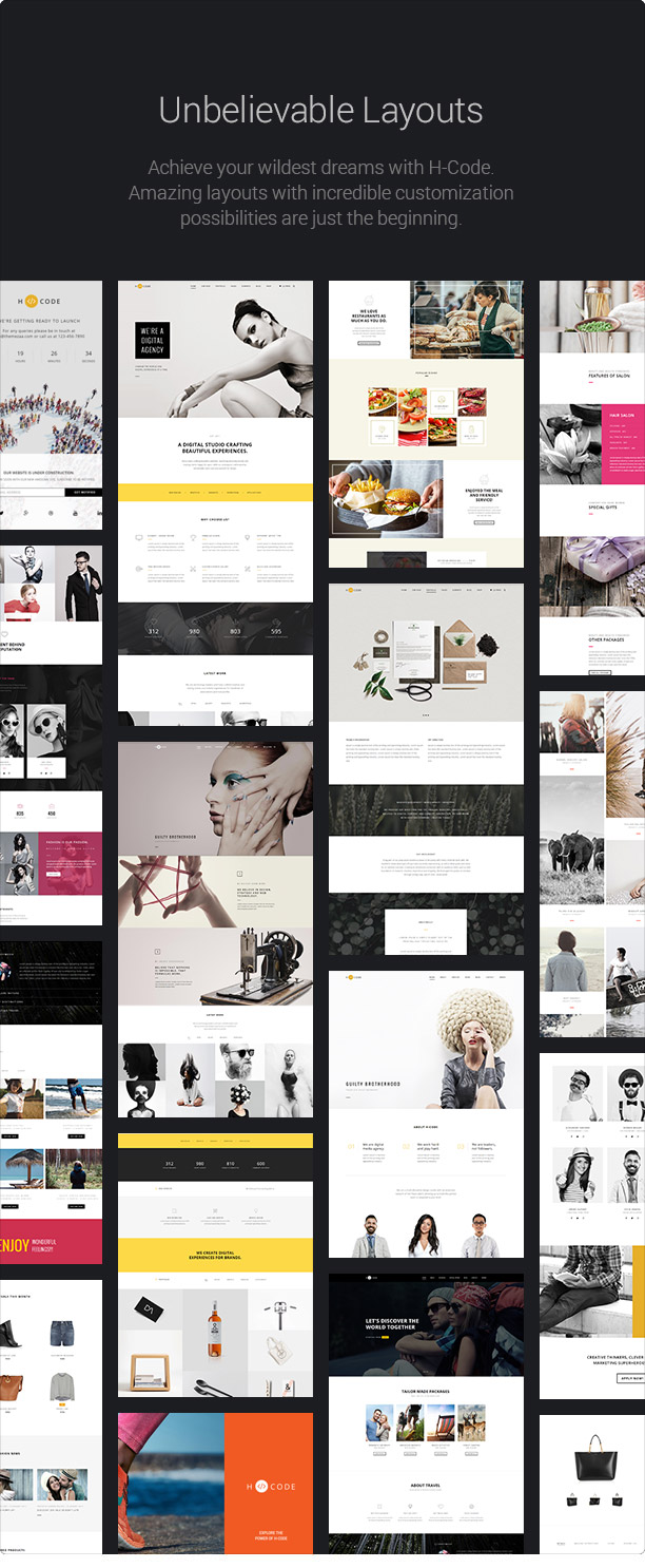 H-Code is 100% responsive to make your website look beautiful in all devices and resolutions.