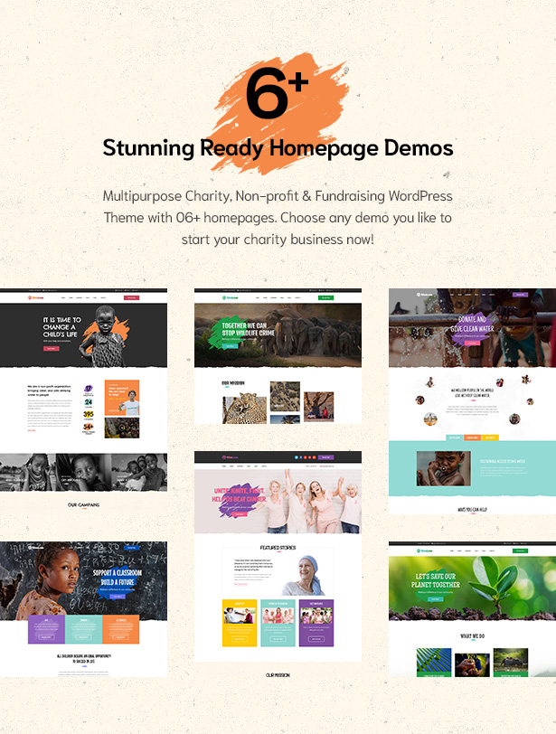 06+ stunning homepage demos in Givelove Non Profit Charity & Crowdfunding WordPress Theme