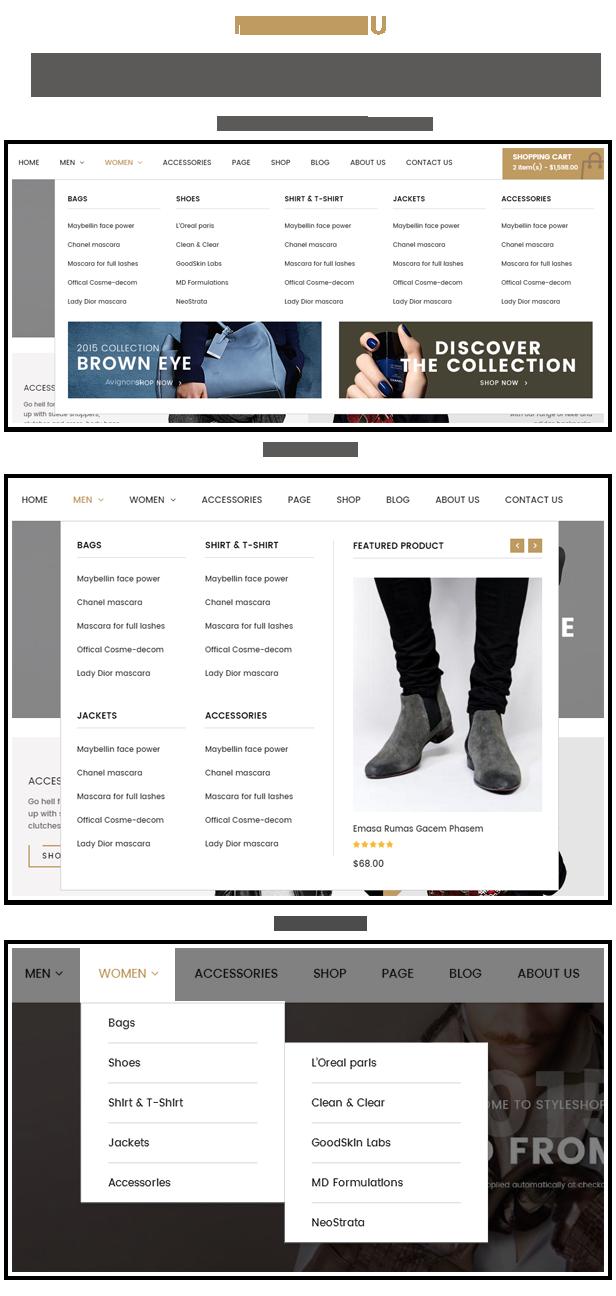 Styleshop - Menu styles