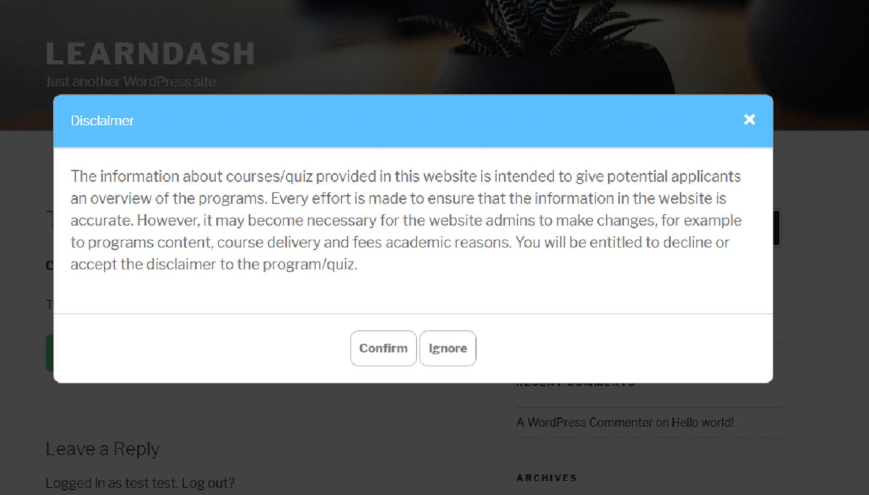 LearnDash Disclaimer - 5
