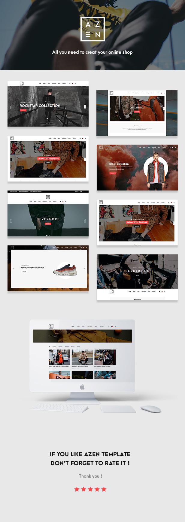 Azen - Clean, Minimal Shop HTML5 Template - 1