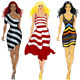 Vector beautiful Asian girl in a striped dress - 6