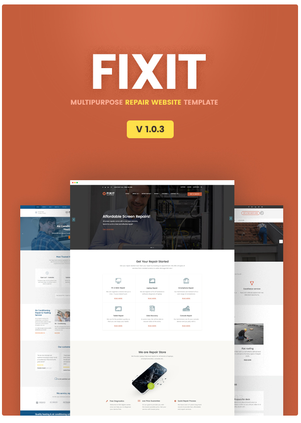 phone computer repair shop website template fixit