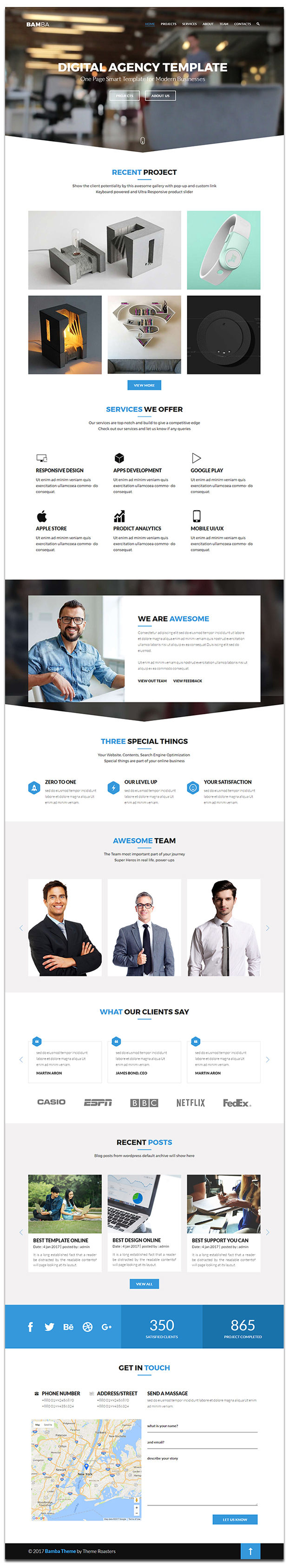 Bamba - One Page Clean Responsive Business HTML5 Template - 3