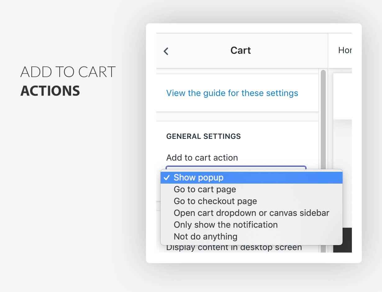 Add to cart actions