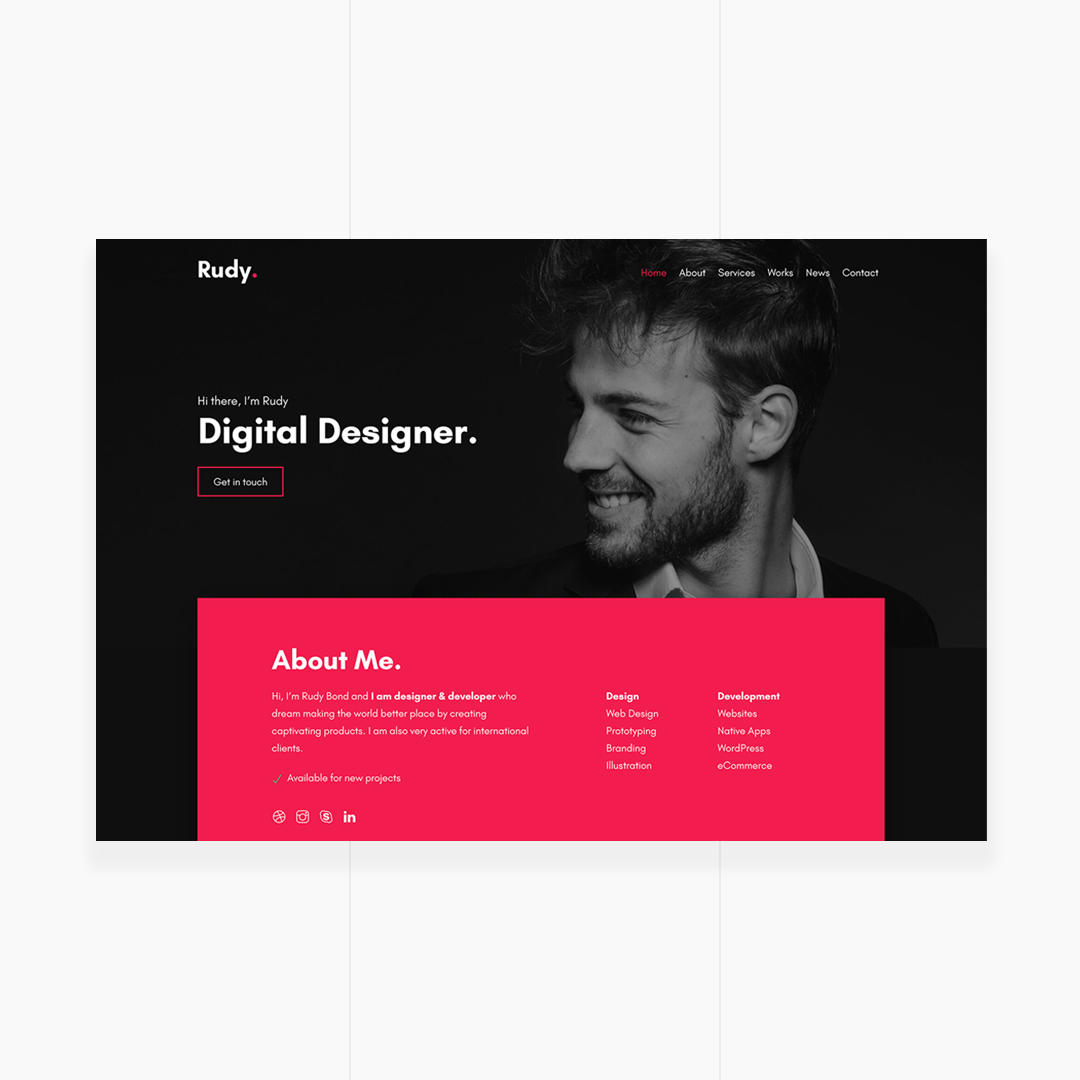 Rudy - Creative Personal Portfolio Template