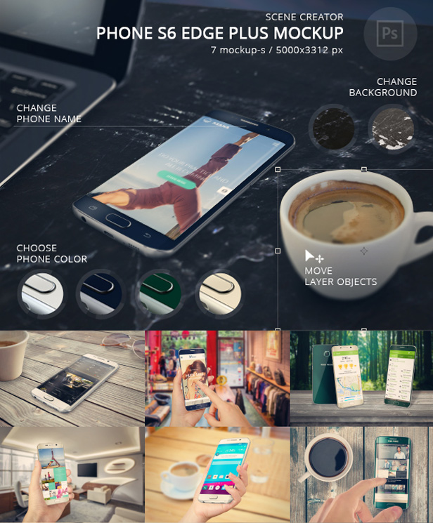 Phone S6 High Resolution Mockup Set  - 3