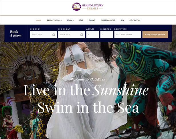 Paradise - Hotel & Resort Responsive WordPress Theme - 1