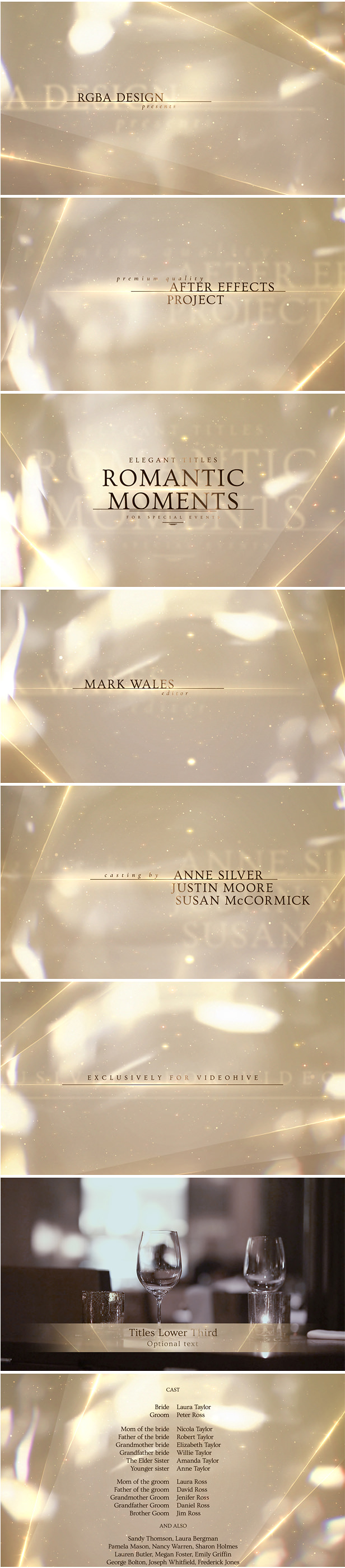 Elegant White Titles After Effects Template with golden bokeh lights and shimmering particles, perfect for majestic wedding film & beautiful love story